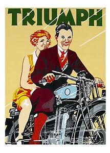 triumph motorbikes vintage old antique modern art print painting large