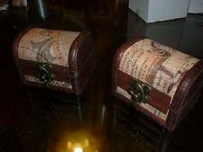 SCRIGNO BAULE COLONIALE vintage portagioie legno arte artigianale fatto a mano
