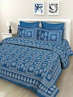 Indian Floral Cotton Printed Jaipuri Double Bed Sheet With 2 Pillow Covers, Blue