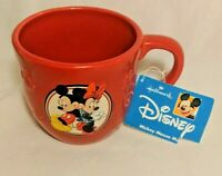 Walt Disney Mickey Minnie Mouse Hallmark Red 3D Embossed Coffee Mug 14oz New tag