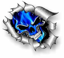 CLASSIC Ripped Open Torn Metal Gothic Skull & Electric Blue Flames car sticker