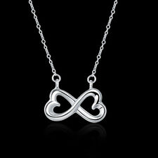 18'' Lucky Infinity 8 925 Sterling Silver Pendant Necklace Choker Women Fashion