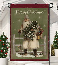 Merry Christmas Primitive Santa Garden Flag * Double Sided * Top Quality