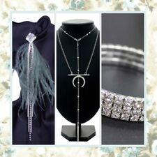3Pc Set Earrings Necklace Bracelet Bling Ostrich Feather Silver Bling Rhinestone