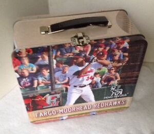 Fargo Moorhead Redhawks 2014 Tin Metal Lunch Box / Stadium Give Away Lunch Tin