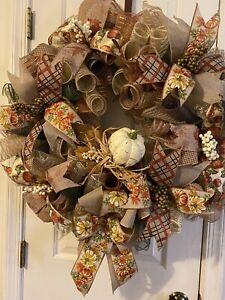 "Everyday Handmade Deco Mesh Autumn Fall Wreath 26"" And Very Full"