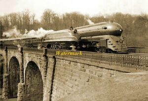 1939 Streamlined Trains on a Viaduct Vintage Old Photo