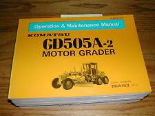 Komatsu GD505A-2 OPERATION MAINTENANCE MANUAL MOTOR GRADER OPERATOR GUIDE BOOK