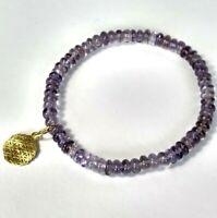 Amethyst Armband , Anhänger Blume des Lebens ,925 Silber vergoldet