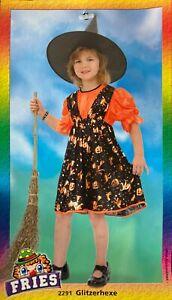 Fries 2291 Kleid Kostüm Halloween Hexe  - Glitzerhexe Gr. 116 / 128