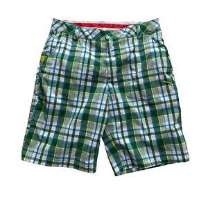 PUMA Men's Sport Performance Green Plaid  Golf Shorts Size 32