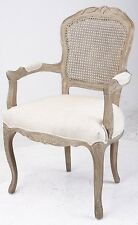 French Provincial Louis XV Upholstered Arm Chair with Rattan Back