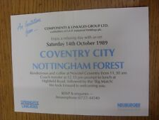 14/10/1989 Ticket: Coventry City v Nottingham Forest - Components & Linkages Gro
