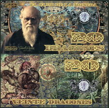 COLOMBIA CLUB DE LA MONEDA 20 DRAGONES 2013 POLYMER FANTASY NOTE CHARLES DARWIN!