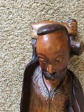"""Wood Carved 30"""" Working Man Art Sculpture Figurine w Hammer"""