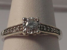 55G LADIES 9CT GOLD 1/4 CARAT DIAMOND SOLITAIRE WITH ACCENTS RING SIZE M