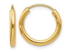 Pequeño aro pendientes en oro Amarillo 14K 1/2 pulgadas (2.00 Mm)