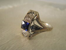 GORGEOUS ANTIQUE ART DECO 18K WHITE GOLD FILIGREE DIAMOND SAPPHIRE RING