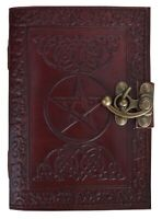 Leather Journal Brown Handmade Pentagram Journal Book of Shadow Spell Pagan 7x5