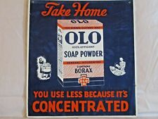 "VINTAGE 1940s OLO SOAP POWDER KITCHEN LAUNDRY GAS OIL 16""  METAL SIGN"