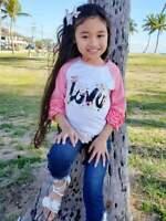 Girls, Toddler Tee Flower Love Ruffle Raglan Boutique Style T-Shirt 2T 3T 4T 5 6