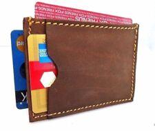 Men's Natural Leather Credit Card Case 3 Slots Back Pocket Size Slim Handmade uk