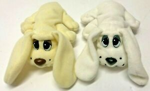 """POUND PUPPIES Puppy Set of 2 Ivory White Long Ears 6 1/2"""" long Plush Figures"""