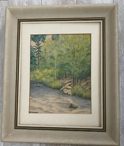Signed, E McLean 1958, Rural Nature River Trees, Frame-Toronto, Canada, Drawing
