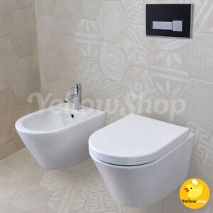SANITARI SOSPESI COPRIVASO SOFT A CHIUSURA RALLENTATA WC VASO SEDILE BIDET BAGNO