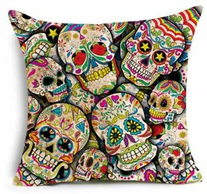 Day Of The Dead Skulls Occult Cushion Cover Mexican  Skull gothic