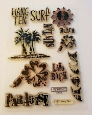 Rubber Stamp Cling Set Ctmh Hang Ten Surf Suntan Paradise Palm Trees Laid Back