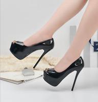 Women Sexy 14cm High Heels Peep Toe Stiletto Shoes Platform Pumps Nightclub Prom