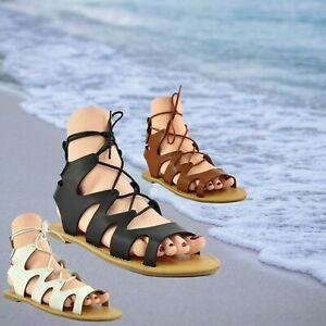 Ladies Summer Gladiator Sandals Womens Slippers Beach Espadrilles Size 3 4 5 6 7