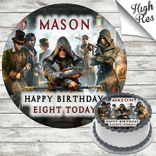 ASSASSINS CREED SYNDICATE ROUND BIRTHDAY CAKE TOPPER DECORATION PERSONALISED