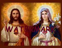 NEW CHRISTIAN SACRED HEART OF JESUS W/ MARY BIBLICAL ART PRINT PHOTO 8.5 X 11
