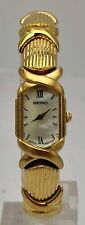 Ladies Gold Tone Seiko Quartz Vintage Hexagon Curved Crystal Watch