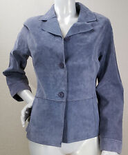 Brandon Thomas Women's M Periwinkle Suede Leather Lined Button Up Blazer Jacket