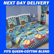BOYS TRUCK CONSTRUCTION ROADWORKS DIGGERS MIXERS QUEEN DOONA QUILT DUVET COVER