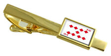 Diamond Playing Card Number 9 Gold-Tone Tie Clip Select Gift Pouch