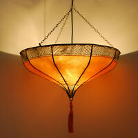 Oriental Suspensions Lampe en Cuir Marocaine Plafonnier Roumia Orange
