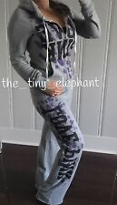 Victoria Secret Love Pink Gray Cheetah Leopard Full Zip Hoodie Sweatpants Set M