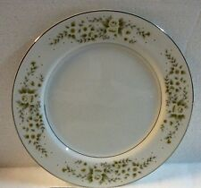 "M CATHAY Fine China SALAD PLATE Dark GREEN White Floral #5115 JAPAN 7 1/2"" RARE"