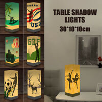 Paper Lampshade 3D Shadow Bedside Table Lamp Desk Nightstand Lights USB/Battery