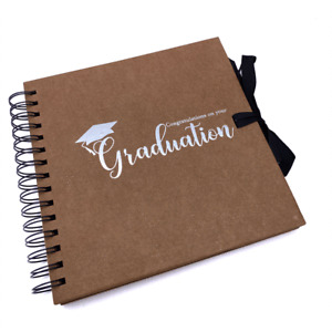Graduation Themed Brown Scrapbook Photo album With Silver Script