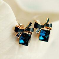 New Fashion Women Elegant Crystal Rhinestone Bow Ear Stud Earrings Jewelry Gift