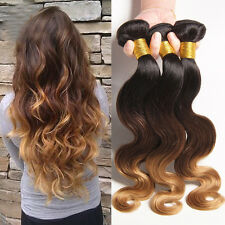 3 Bundles Brazilian Three Tone Ombre Body Wave Wavy Human Hair Extensions Weft