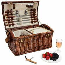Large Wicker Picnic Basket for 4 Person Insulated Cooler Bag Supplies 18x12x10""