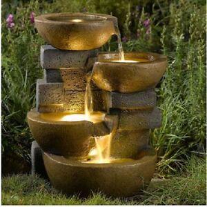 Water Fountain  Garden Patio Rustic Pots LED Light Indoor Outdoor Decor New