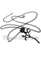Alchemy Gothic P695 The Romance Of The Black Rose Flower Pewter Chain Pendant