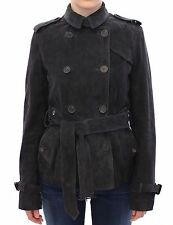 NWT $1680 AQUASCUTUM London Blue Suede Leather Jacket Coat Giacca IT40 / US6 / S